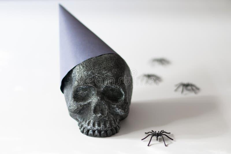 Zwarte schedel die een partijhoed met spinnen dragen stock foto