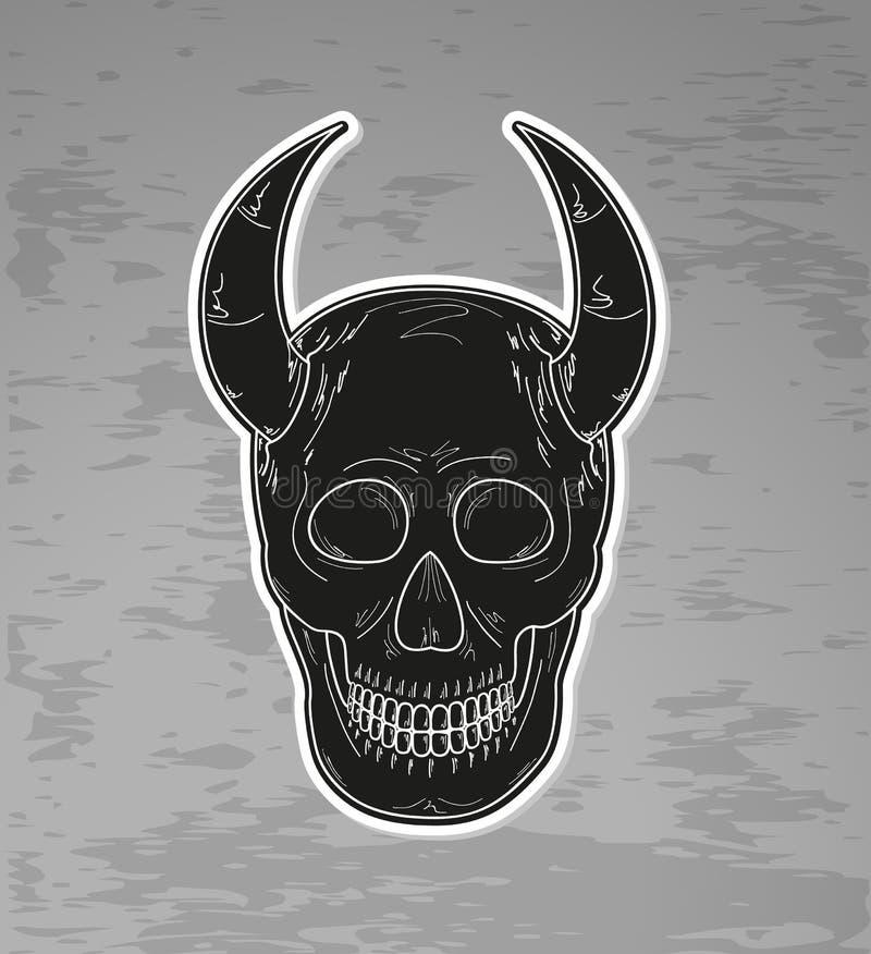 Zwarte schedel met hoornen vector illustratie