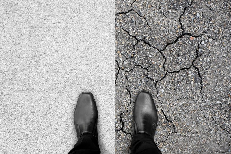 Zwarte schoenen die zich op tapijt en aarde bevinden stock foto