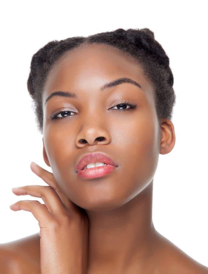 Zwarte schoonheid met perfecte huid royalty-vrije stock foto