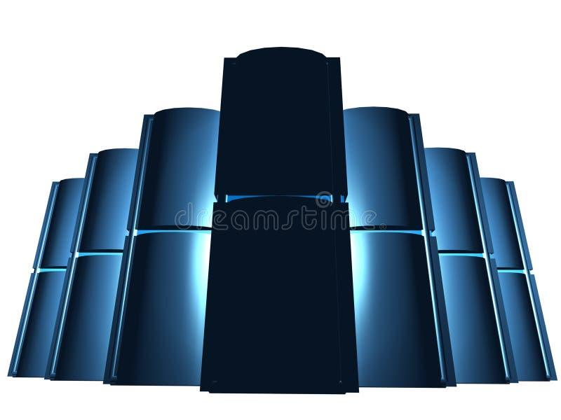 Zwarte servers in groep vector illustratie