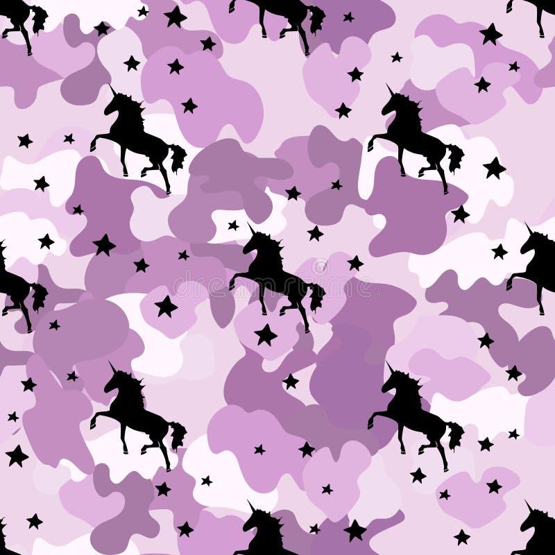 Zwarte silhoueteenhoorn camouflageroze Naadloos patroon royalty-vrije illustratie