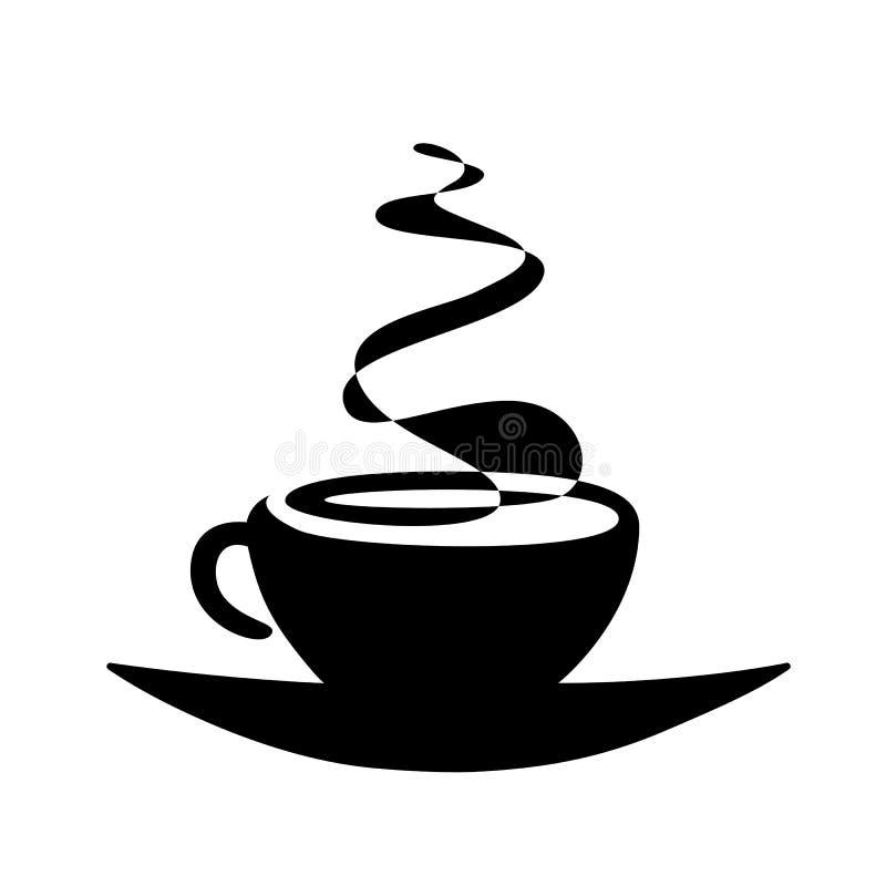 Zwarte silhouetkop thee of koffie met stoom vectorillustratie stock illustratie