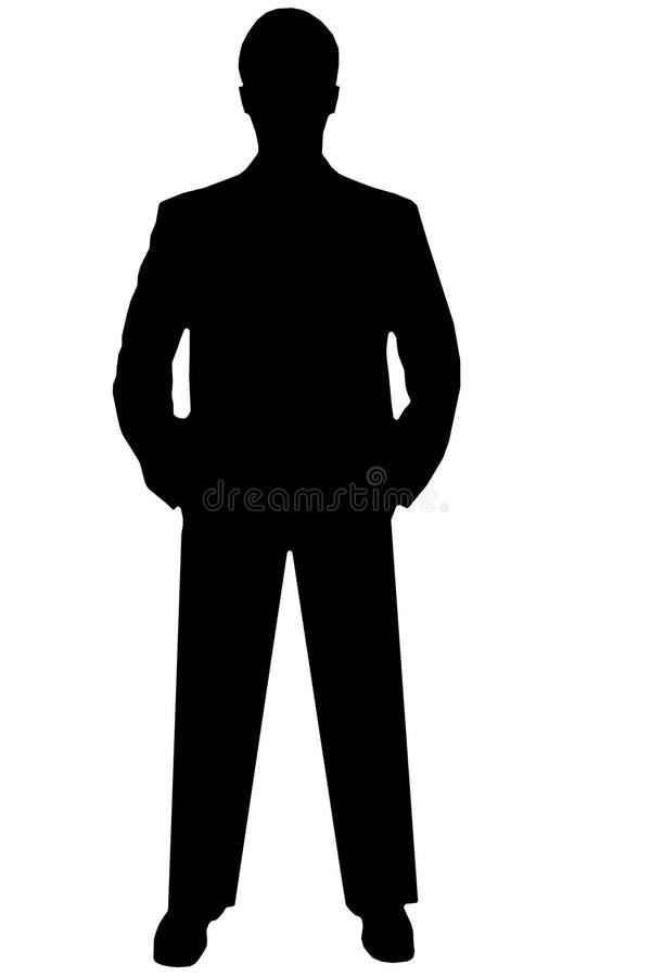 Zwarte silhouetmens op wit royalty-vrije stock fotografie
