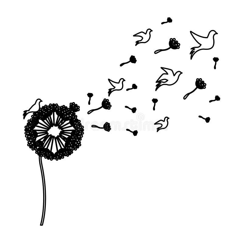 zwarte silhouetpaardebloem met vliegvogels royalty-vrije illustratie
