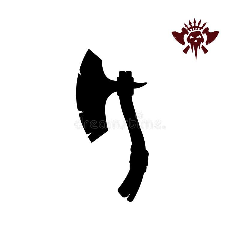 Zwarte silhouetten van barbaarse bijl op witte achtergrond Het pictogram van het orkawapen De bijl van de fantasiestrijder royalty-vrije illustratie