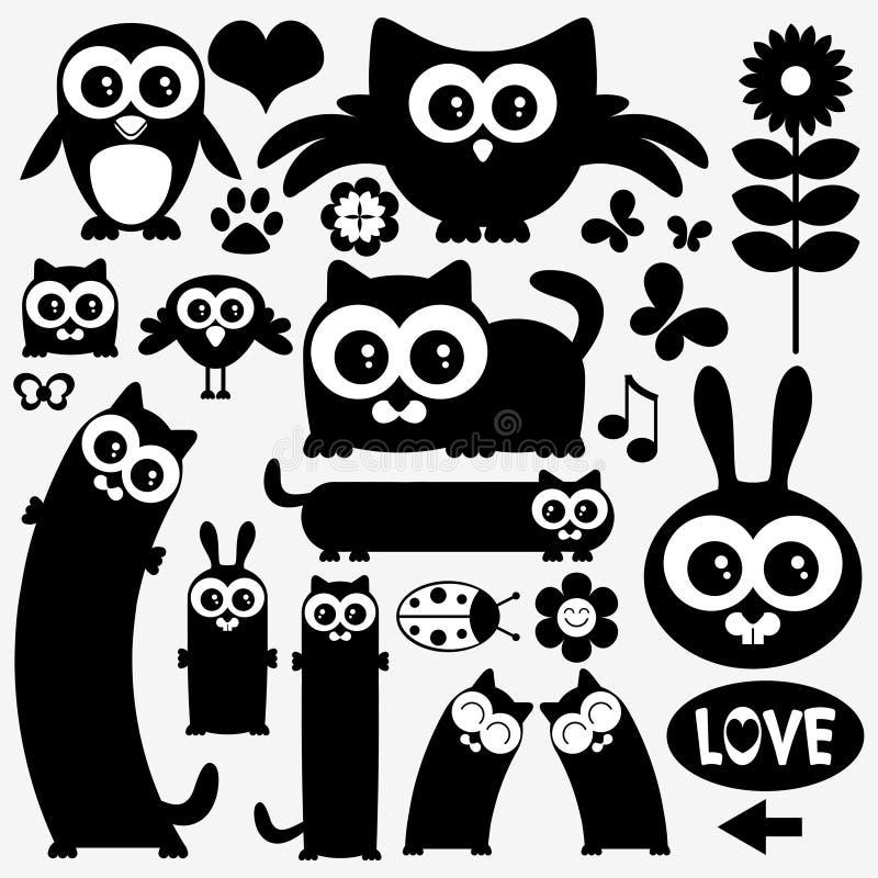 Zwarte silhouetten van leuke dieren stock illustratie