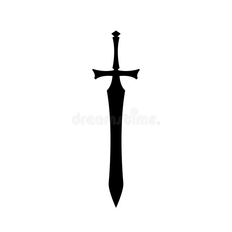 Zwarte silhouetten van middeleeuws ridderzwaard op witte achtergrond Het pictogram van het voorvechterswapen Het materiaal van de stock illustratie