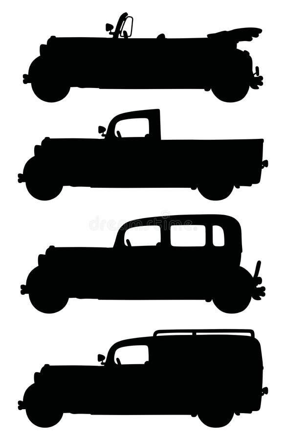 Zwarte silhouetten van uitstekende auto's stock illustratie