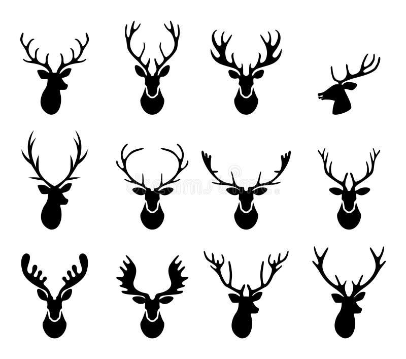 Zwarte silhouetten van verschillende hertenhoornen, vector stock illustratie