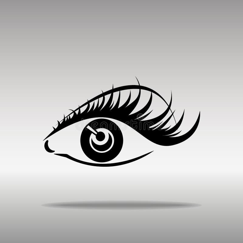 Zwarte silhouetten van wenkbrauwen en ogen op witte achtergrond Open en gesloten ogen vector illustratie