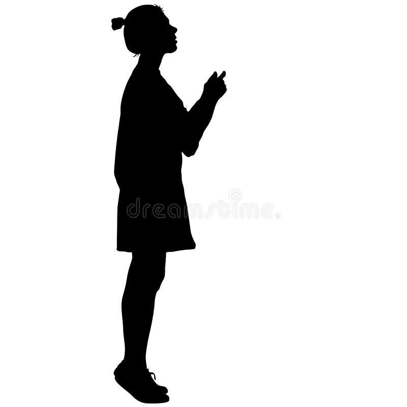 Zwarte silhouetvrouw die zich op tenen, mensen op witte achtergrond bevinden royalty-vrije illustratie