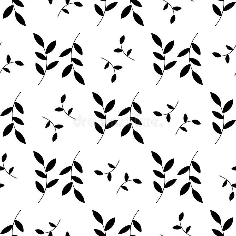 Zwarte sillhouette bloeit patroon royalty-vrije illustratie