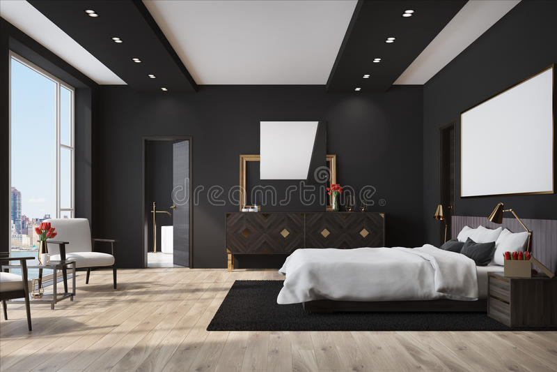 Zwarte Slaapkamer Met Een Affiche, Kast Stock Illustratie ...