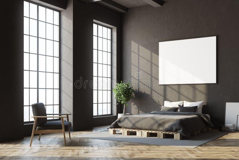Zwarte slaapkamerhoek, horizontale affiche vector illustratie