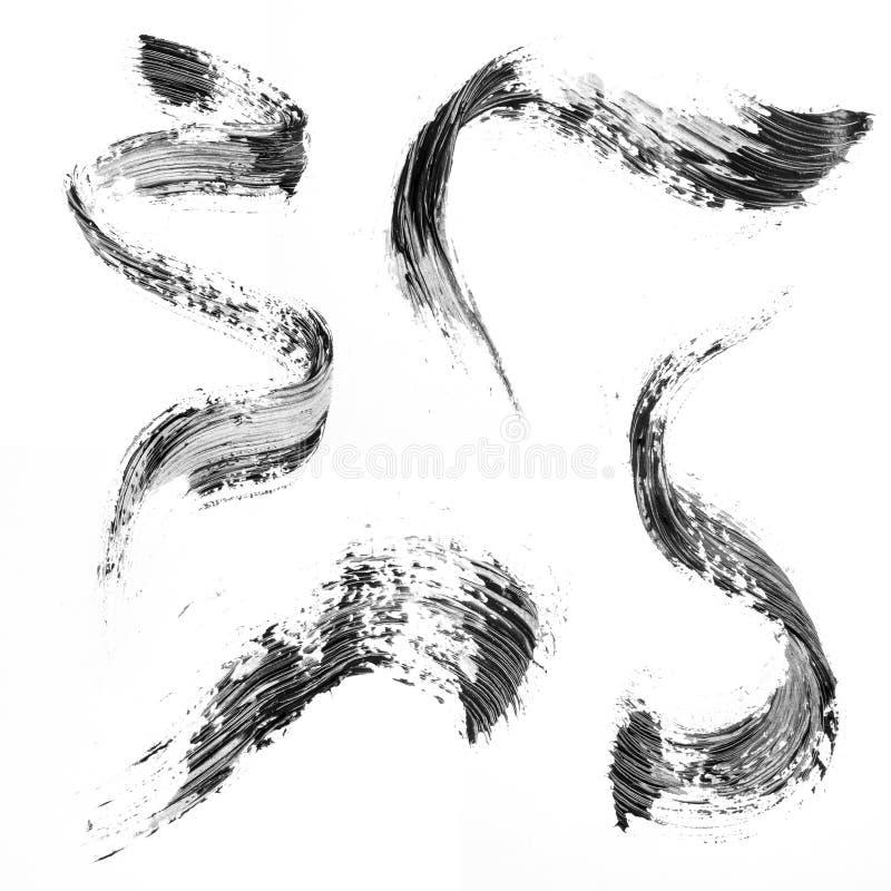 Zwarte slagen van mascara stock illustratie