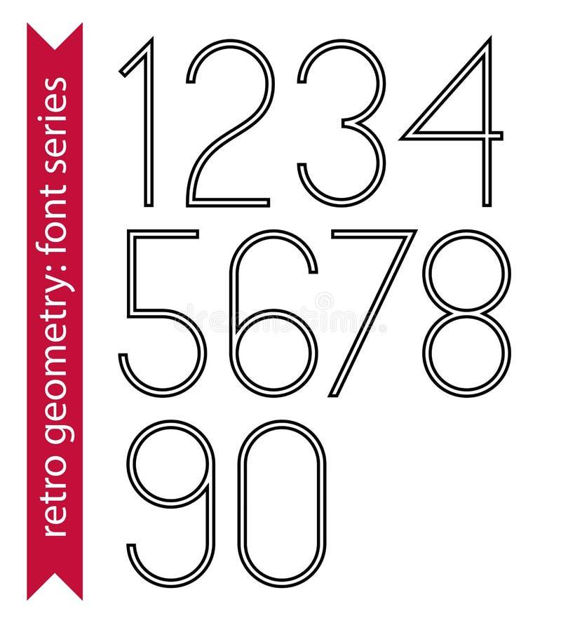Zwarte slanke aantallen, enige kleuren gevoelige cijfers vector illustratie