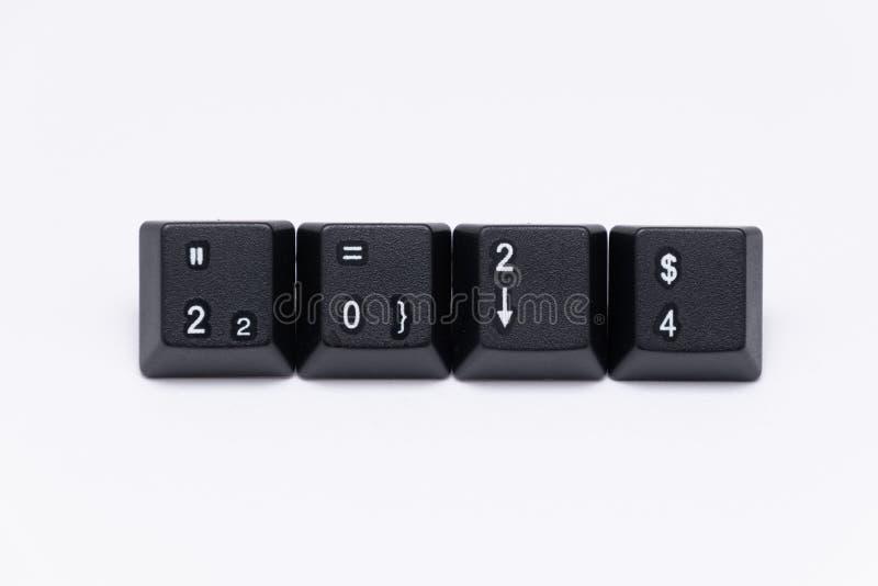 Zwarte sleutels van toetsenbord met verschillende jaren, woorden, namen stock foto