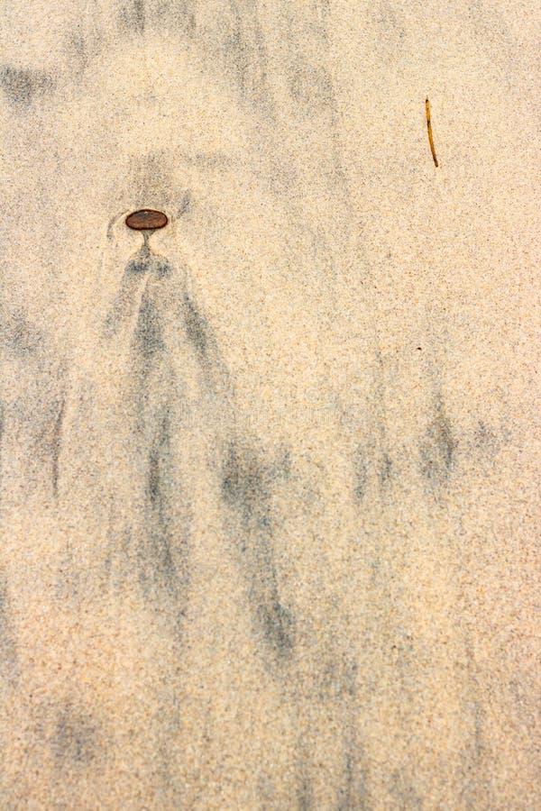 Zwarte slibpatronen in strandzand die als vreemdeling, engelenpersoon kijken stock foto's