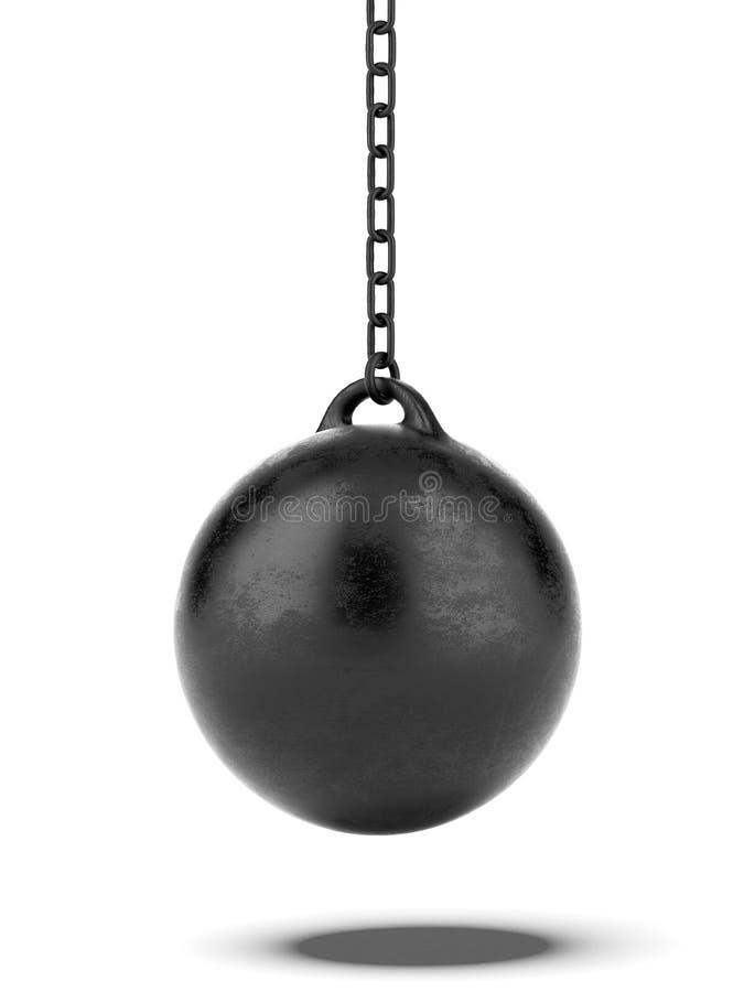 Zwarte Slopende bal stock illustratie