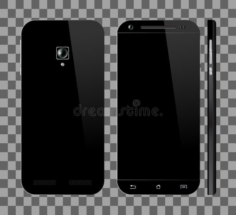 Zwarte smartphone met het lege scherm vector illustratie