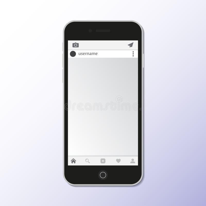 Zwarte smartphone met het sociale netwerkscherm Vector illustratie vector illustratie