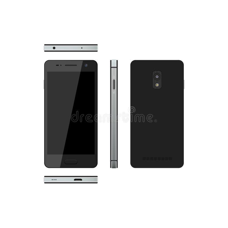 Zwarte smartphone op een witte achtergrond Telefoon in verschillende meningen stock illustratie