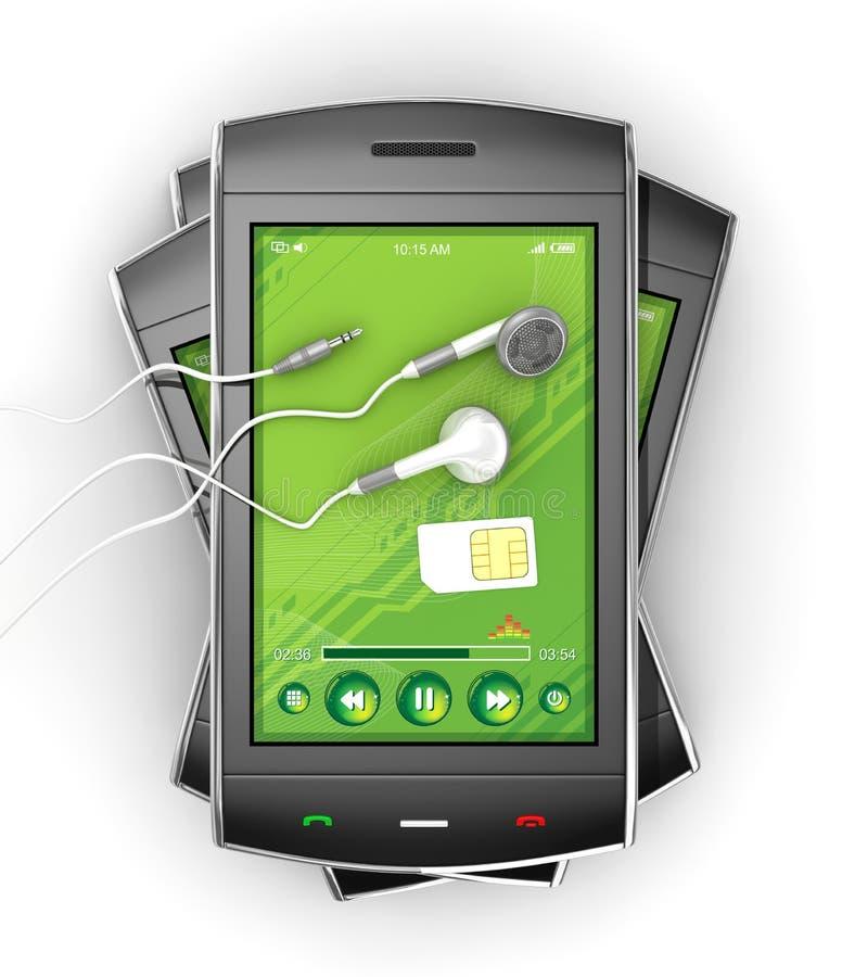 Zwarte smartphones en oortelefoons. vector illustratie