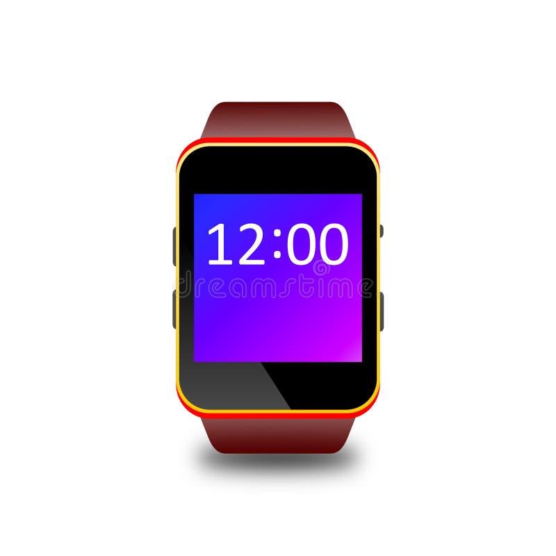 Zwarte Smartwatch-illustratie met bruine riem vector illustratie