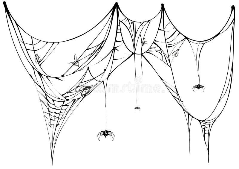 Zwarte spin en gescheurd Web op witte achtergrond stock illustratie