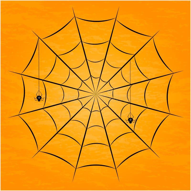 Zwarte spin met netten Vector illustratie royalty-vrije stock foto