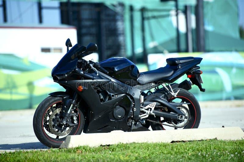 Zwarte Sportbike stock afbeelding