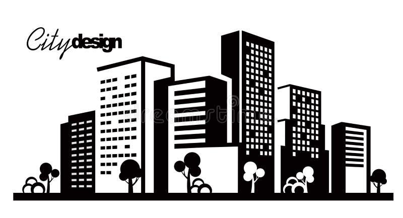 Zwarte stad vector illustratie