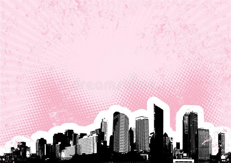 Zwarte stad met roze. Vector royalty-vrije illustratie