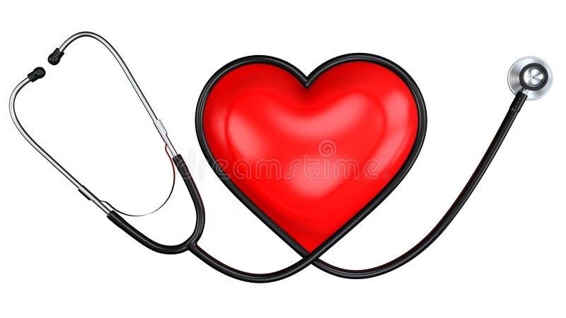 Zwarte Stethoscoop in Vorm van Hart met het Rode Hartsymbool Geneeskundemateriaal en Medisch Gezondheidszorgontwerp royalty-vrije illustratie