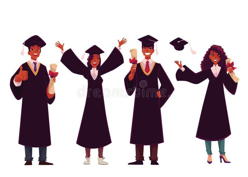Zwarte studenten in traditionele kappen en toga's die succesvolle graduatie vieren vector illustratie