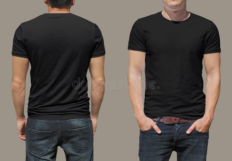 Zwarte t-shirt op een jonge mensenmalplaatje royalty-vrije stock fotografie