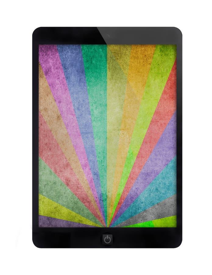 Zwarte tablet met veelkleurige zonnestralen grunge achtergrond stock foto's