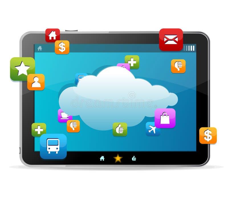 Zwarte tablet zoals Ipade en pictogrammen vector illustratie