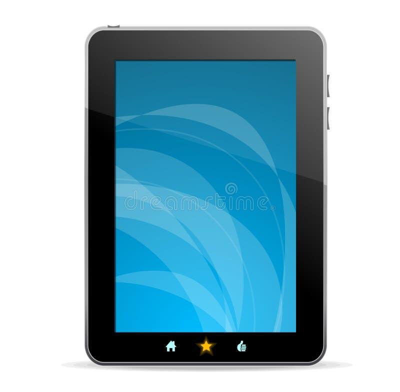 Zwarte tablet zoals Ipade op witte achtergrond stock illustratie
