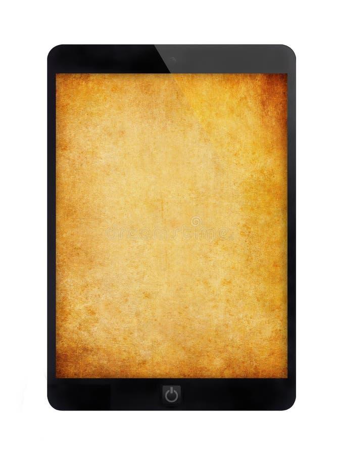 Zwarte tabletpc met grungemuur royalty-vrije stock foto's