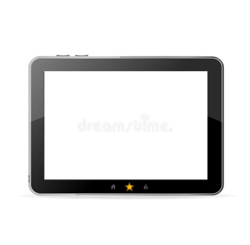 Zwarte tabletpc op witte vector als achtergrond vector illustratie