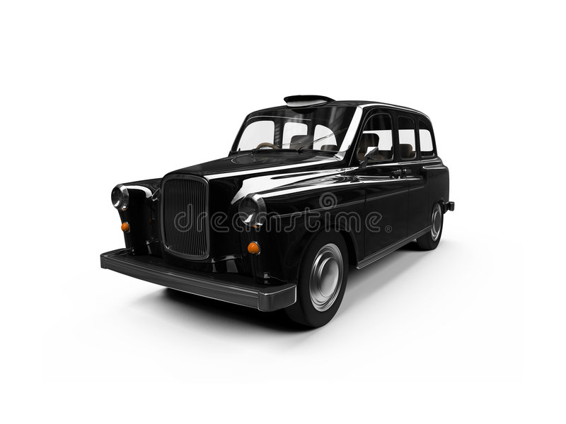 Zwarte taxi die over wit wordt geïsoleerdd vector illustratie