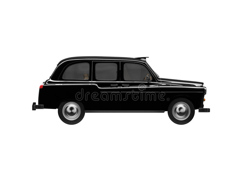 Zwarte taxi die over wit wordt geïsoleerdd royalty-vrije illustratie