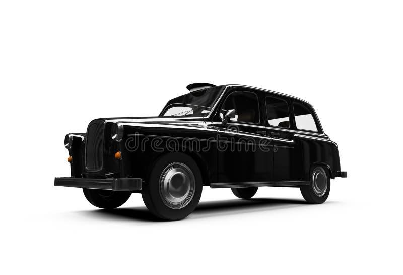 Zwarte taxi die over wit wordt geïsoleerdo vector illustratie