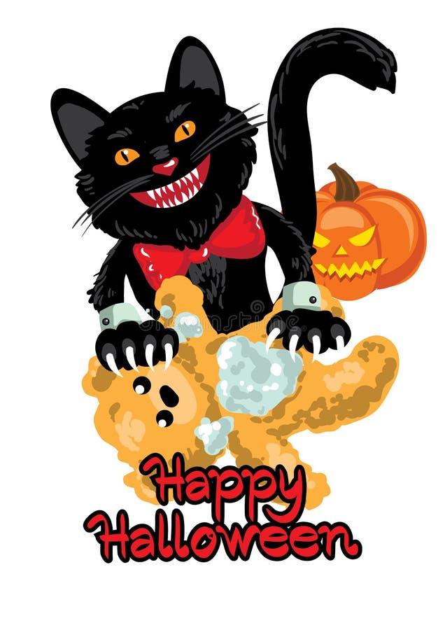 Zwarte tearing kat een teddybeer De kaart van Helloween royalty-vrije illustratie