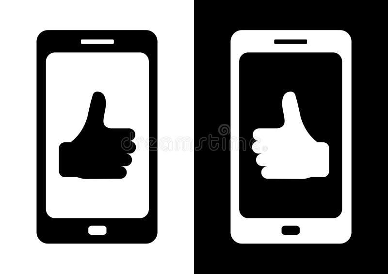 Zwarte telefoon op witte achtergrond en witte telefoon op zwarte achtergrond met symbool omhoog duim Vlak pictogram van Smartphon royalty-vrije illustratie