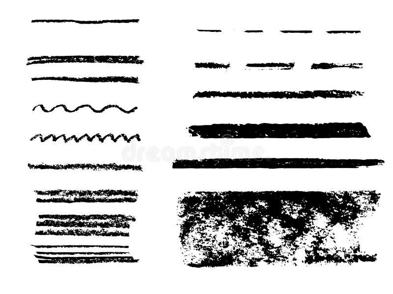 Zwarte tellerslijnen De vectorlijnen van de highlighterborstel De tekening van de hand royalty-vrije illustratie