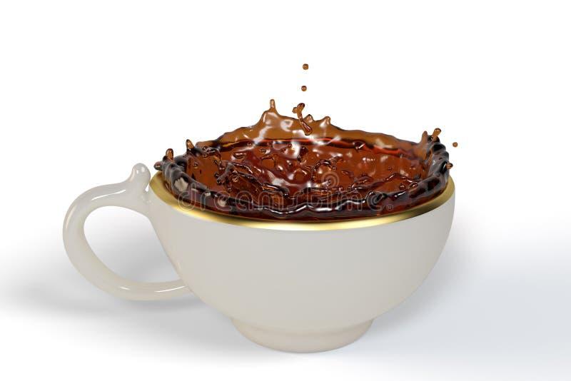 Zwarte thee in de Kop als Kroonvorm royalty-vrije stock afbeeldingen
