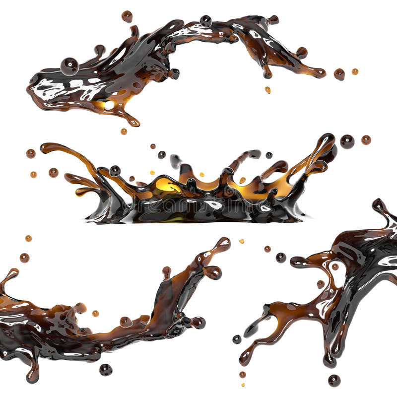 Zwarte thee, koffie of alcohol dynamische drankplons stock illustratie